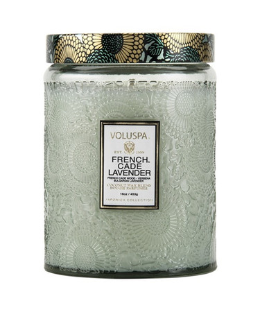 Voluspa French Cade Lavender Large Embossed Jar Candle