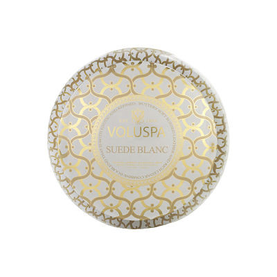 Voluspa Suede Blanc 2 Wick Tin Candle