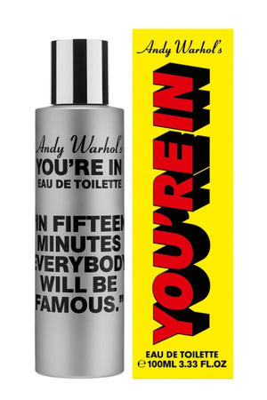 """Comme des Garcons Andy Warhol's You're in.  """"In Fifteen Minutes Everybody Will Be Famous."""" Eau de Toilette"""