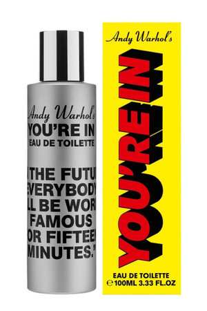 """Comme des Garcons Andy Warhol's You're in.  """"In The Future Everybody Will Be World Famous For Fifteen Minutes."""" Eau de Toilette"""
