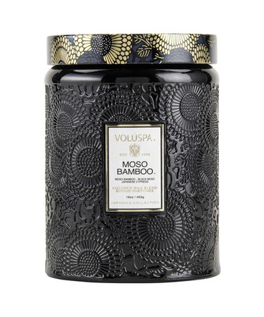 Voluspa Moso Bamboo Large Embossed Jar Candle