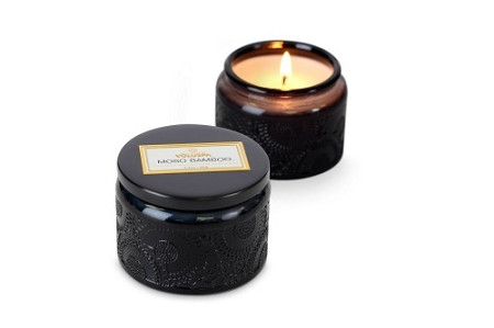 Voluspa Moso Bamboo Small Embossed Jar Candle