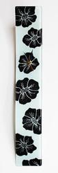 "Arciform Billet Clock ""Black Blossoms on White"""
