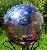 "Glass Gazing Ball ""Circus Amethyst"" 12 Inch Iridized"