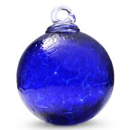 Cobalt Blue 4 Inch Crackle Kugel