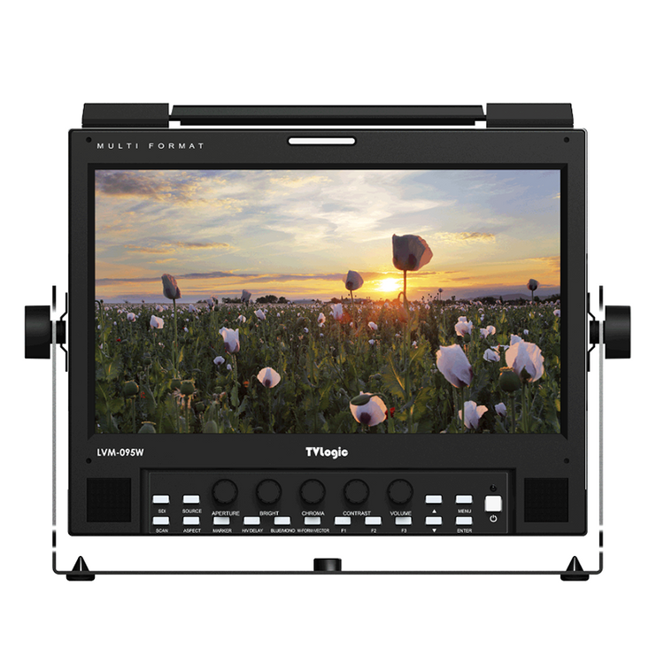 TVLogic LVM-095W 9-Inch FHD Multi-Format Monitor 1920x1080 - Front View - Ideal for Field or Studio
