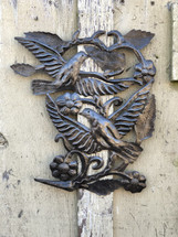 """Birds Wings and Flowers Haitian Home Decor 16"""" x 17"""""""