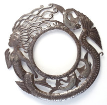 large round mirror frame, mermaid design