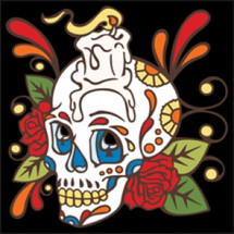 Day of the Dead Tile Skull with Candle