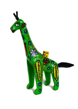 """Hand Carved Green Giraffe Candle Holder 13.5"""" x 12"""""""
