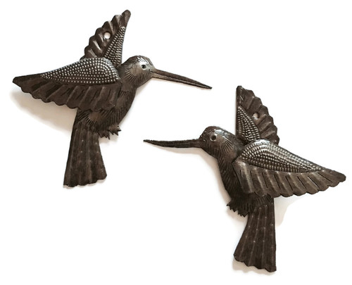 "Hummingbirds, Haitian Recycled Metal Drum Wall Art (set of 2) 6"" x 5.5"", Garden Patio Yard Art"