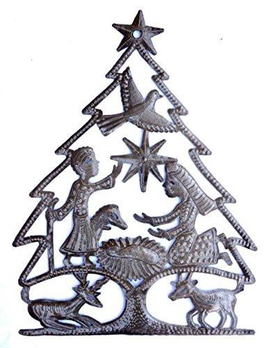 Christmas Tree mixed with a Nativity Unique Holiday Art, Haiti Metal Art