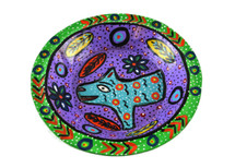"""Green Bowl Hand Painted from Guatemala 8"""""""