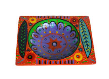 """Orange Square Bowl Hand Painted from Guatemala 6.5"""" x 8.25"""""""