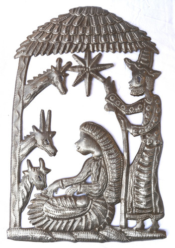 nativity in stable- Haiti metal art