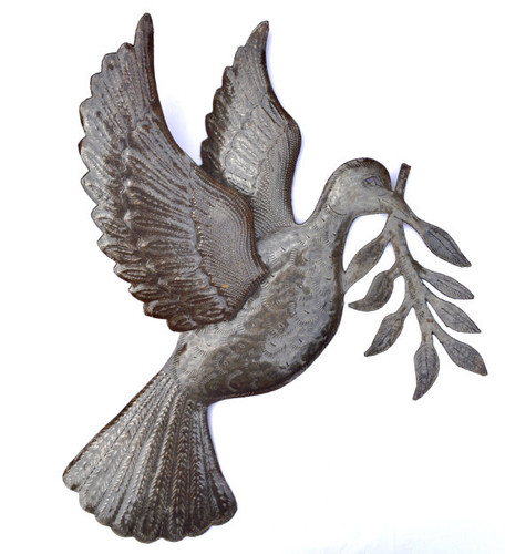 "Dove of Peace Recycled Metal Art from Haiti 17"" X 17.5"""