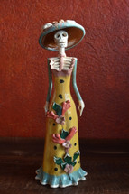 "Catrina, Day of the Dead Altar Ceramic Sculpture 4"" X 14"""