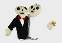 """Bride and Groom Hand Puppet Skeletons 11"""""""