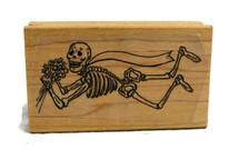 "Bride Skeleton Day of the Dead Rubber Stamp 3"""