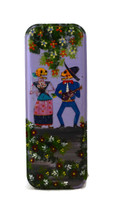 """Day of the Dead Pencil Box Holder, Skeleton Couple 3"""" x 8"""""""