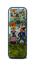 """Day of the Dead Pencil Box Holder, Hand painted Skeleton Couple 3"""" x 8"""""""