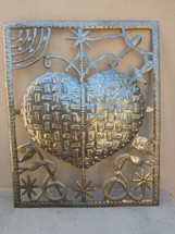 """Erzulie Dantor, Defender of Women and Children, Sacred Heart Made from Recycled Steel Barrel in Haiti 17"""" x 20 3/4"""""""