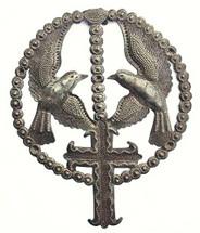 Birds with cross, Religious Catholic Rosary, Handmade in Haiti
