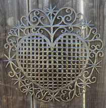 """Heart, Traditional Haiti Symbol of Protection and Love, Recycled Metal Wall Art 23"""" X 22.5"""", Garden patio yard art"""