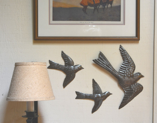 Metal Birds Wall Art Soaring to the Right