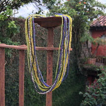 Multi Strand Choker Necklace made of glass beads that have been hand loomed by women artisans in the Lake Atitlan region Guatemala