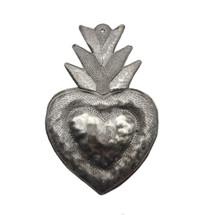 "Flaming Sacred Heart Haitian Recycled Metal 7"" x 9"""