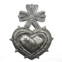 """Heart, Sacred Heart, Handcrafted in Haiti, Recycled Oil Drums, Fair Trade 7""""x 9"""""""