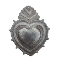 """Rustic Flaming Milagro Heart, Charming Inspirational Wall Decor, Handmade in Haiti from recycled oil drums 8"""" x 11.5"""""""