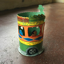 Haitian Tap Tap Bus pencil holder Hand Painted Recycled Metal mixed colors