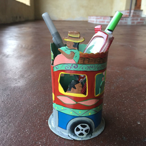 Haitian Tap Tap Bus pencil holder Hand Painted Recycled Metal