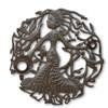 Pregnant Haitian Woman, One-of-a-Kind Metal Art, Haiti Art, Steel Oil Drums, Lid, Art, Sustainable Art, Eco-Friendly Art