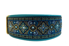 "1.5"" Aqua and Navy Croix Swarovski Collar"