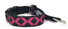 "Pink and Black Lattice 1"" Private Prong Collar"