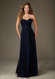 Mori Lee 128.  Beaded Lace and Chiffon Dress.  Available in all Mori Lee Solid Lace Bridesmaids colors.