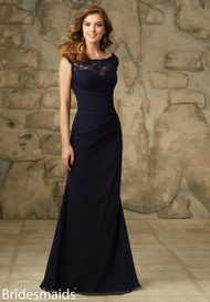 Mori Lee 105.  Lace and Chiffon Dress with Zipper Back. Available in All Solid Lace Colors.