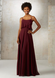 Mori Lee 21515.  Romantic Chiffon Bridesmaids Dress Featuring Removable Spaghetti Straps and Flutter Neckline. Zipper Back. Shown in Bordeaux and White Smoke. Available in Printed Chiffon or All Solid Chiffon Color Options.