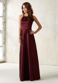 Mori Lee 21517.  Sleek Satin Bridesmaids Dress Features a Matching Satin Waistband and Hidden Side Pockets. Zipper Back. Shown in Bordeaux. Available in all Satin Color Options.