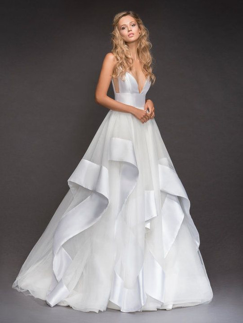 Hayley Paige Andi 6800.  Hayley Paige bridal gown - Ivory Mikado and tulle bridal ball gown, spaghetti strap bodice with deep sweetheart neckline, ivory net side cut out, cascading banded tulle skirt.