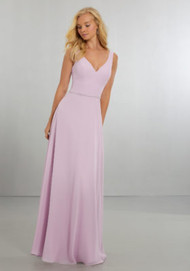 Mori Lee 21557.  Classic Chiffon A-Line Gown with Front and Back V-Neckline and Delicately Beaded Waistline Band with Zipper Back. View Chiffon Swatch Card for Color Options. Shown in Peony.