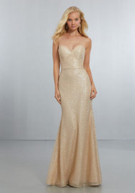 Mori Lee 21560.  Sweetheart, Exquisite Caviar Mesh, A-Line Gown. The Illusion Net, Hi-Neckline Extends Down to V-Back Neckline with Back Zipper. View Caviar Mesh Swatch Card for Color Options. Shown in Gold.