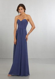 Mori Lee 21565.  Classicly Modern A-Line Chiffon Gown with Draped, Sweetheart Bodice That Wraps Around to the Zipper Back. View Chiffon Swatch Card for Color Options. Shown in Storm.