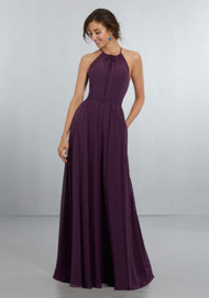 Mori Lee 21572. Sophisticated, High Halter Chiffon A-Line Gown with Tie-Front Detail at the Neckline and Crystal Button Back Neckline Detail with Keyhole and Zipper. View Chiffon Swatch Card for Color Options. Shown in Eggplant.