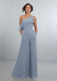 Mori Lee 21574.  Chic, One-Shoulder Jumpsuit with Wide Legs and Soft Front and Back Flounce, Finished Off with a Back Zipper. View Chiffon Swatch Card for Color Options. Shown in Dove.