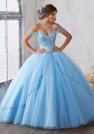 Mori Lee 89135.  Dramatic and Elegant, This Quinceaera Ballgown Beautifully Combines an Intricately Beaded Bodice Featuring Off-the-Shoulder Cap Sleeves, with a Traditional Split Front Tulle Skirt. Matching Stole Included. Corset Back. Colors Available: Bahama Blue, Black Cherry, Royal, White, Blush.
