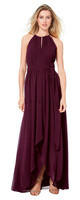 Bill Levkoff 1501.  Chiffon halter spaghetti strap gown with a keyhole front. Vertical pleats adorn the bodice. Self-tie belt accents the natural waist. Split front over-skirt with a wide front slit. Available in all Bill Levkoff Chiffon Colors.